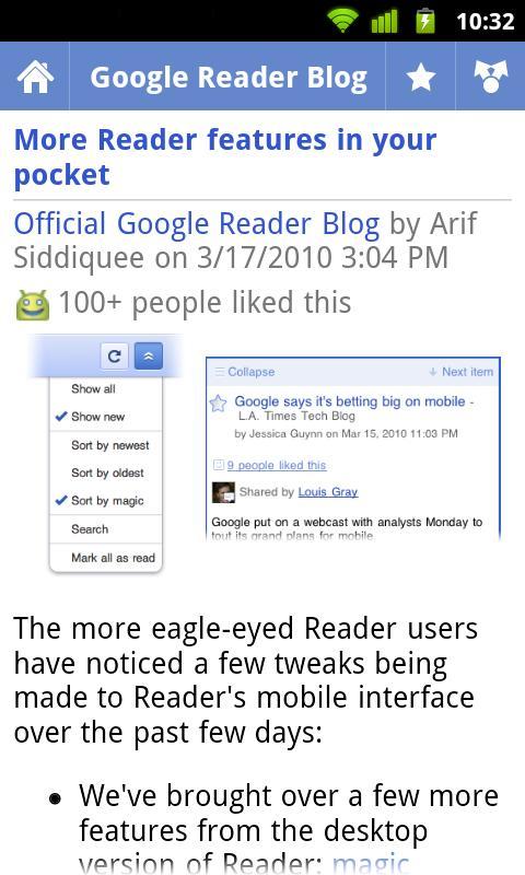 Google Reader para Android (Foto: Divulgação)