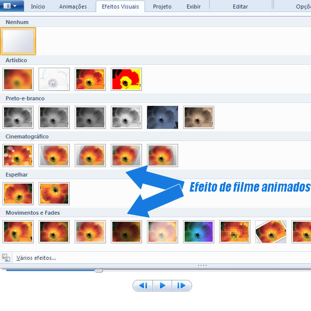 efeitos visuais para windows movie maker