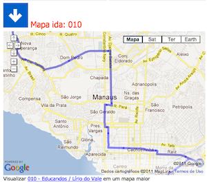 Mapa com o caminho do ônibus (Foto: Reprodução)