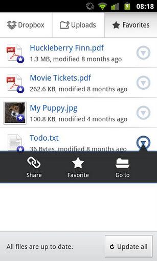Tela do Dropbox 2.0 para Android (Foto: Divulgação)
