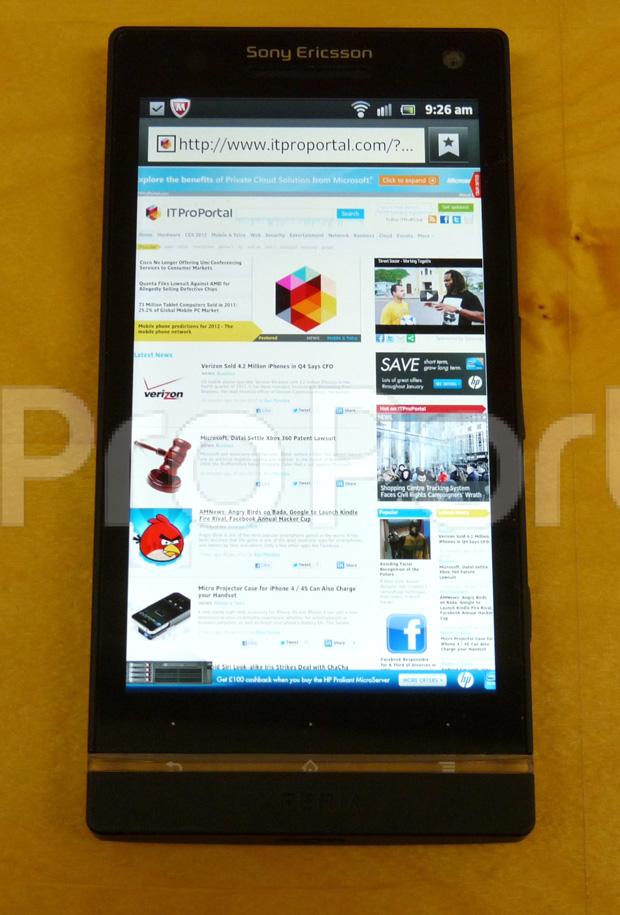 Sony Ericsson Xperia HD (Foto: Reprodução/IT Pro Portal)