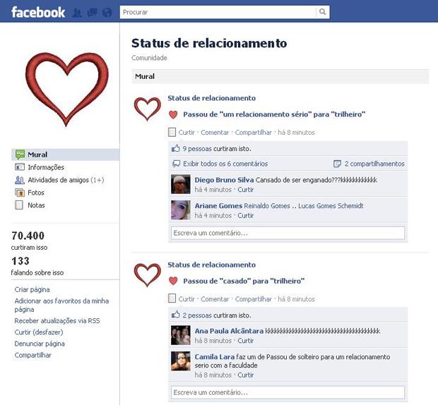 status criativo para facebook - status de relacionamento