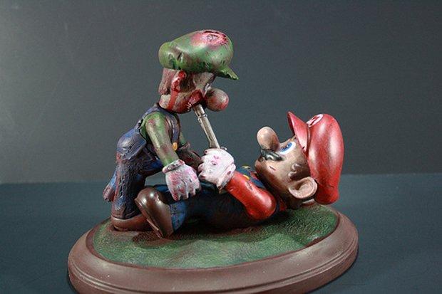 Estatueta de Mario e Luigi zumbi (Foto: Reprodução)
