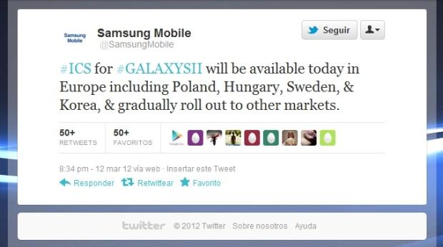 Mensagem da conta da Samsung no Twitter, que confirma a atualização oficial (Foto: Reprodução/Twitter)