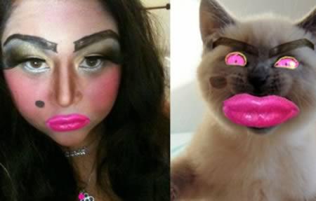 Mulher está maquiada da mesma forma que a montagem do animal ao lado (Foto: Reprodução/Oddee)
