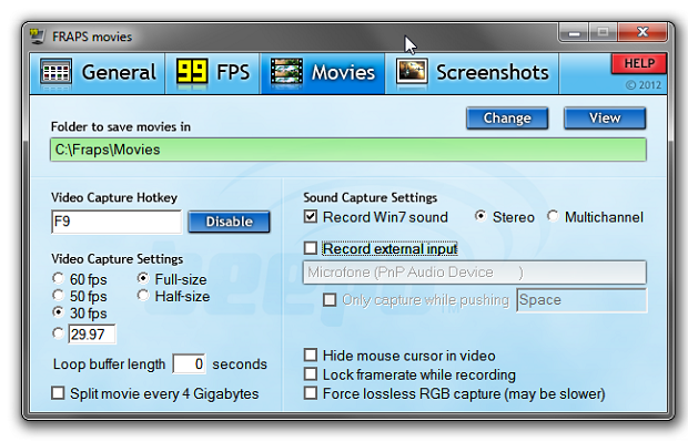 Configurações de captura de vídeo (Foto: Reprodução/Helito Bijora)