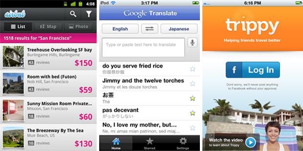 AirBnB, Google Translate e Trippy  (Foto: Divulgação)