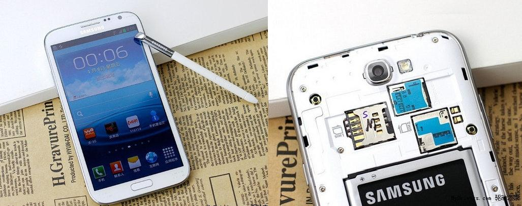 Imagem do protótipo do Galaxy Note 2 com portas para dois chips (Foto: Reprodução)