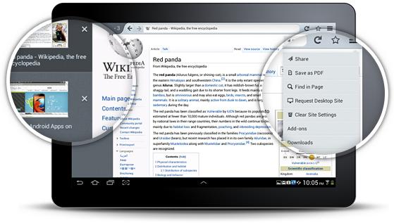 Novo Firefox está disponível para tablets com Android (Foto: Reprodução)