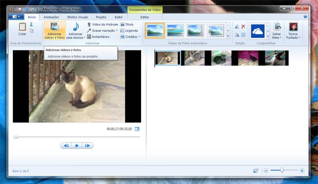 adicionando fotos video