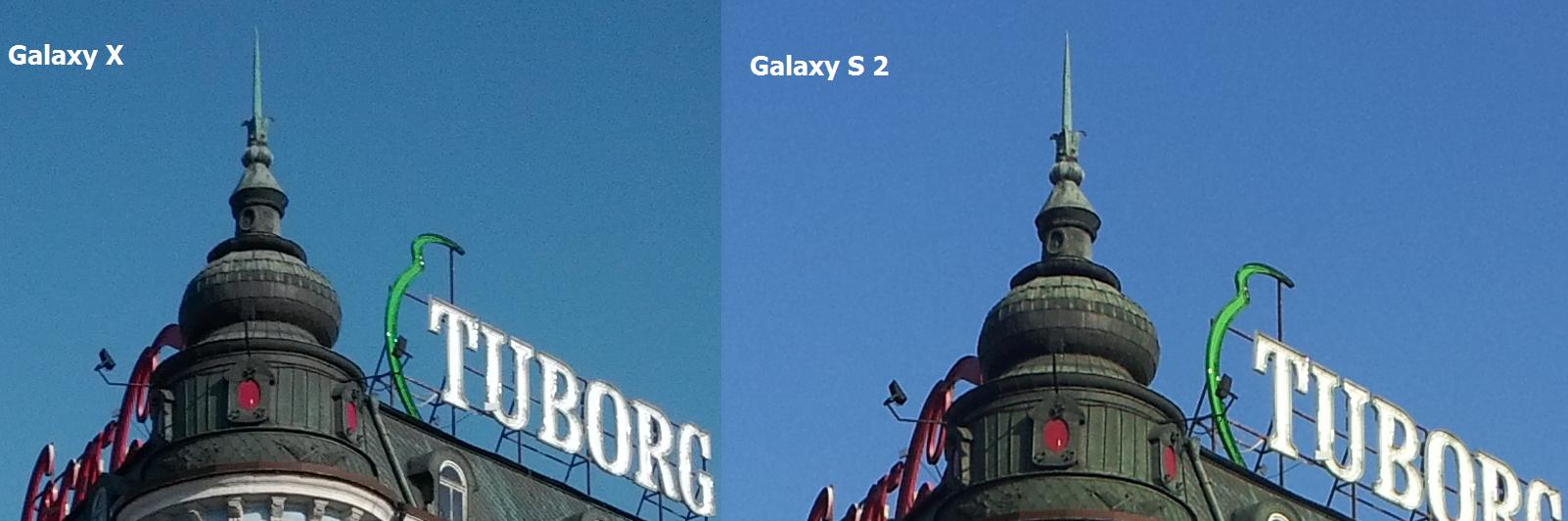 Imagem capturada mais granulada no Galaxy X e mais suave no S2 (Foto: Reprodução)