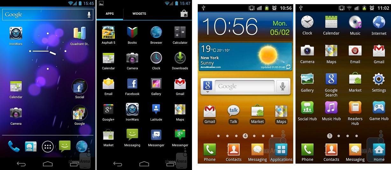 A pureza do AOSP presente no Galaxy X, contra a beleza da TouchWiz no S2 (Foto: Reprodução)