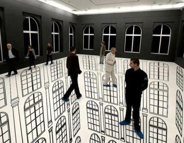 Chão desenhado com janelas (Foto: Reprodução)
