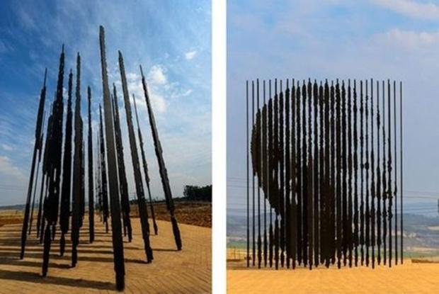 Escultura forma a silhueta de Nelson Mandela (Foto: Reprodução)