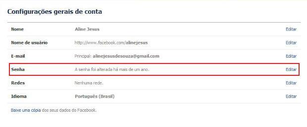 Alterando a senha do Facebook (Foto: Aline Jesus/Reprodução)