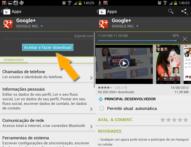 Baixando Google+ no Android (Foto: reprodução / Flávio Renato)