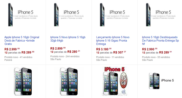 dbabc572039 iPhone 5 tem diversas ofertas em site de leilões (Foto: Reprodução)