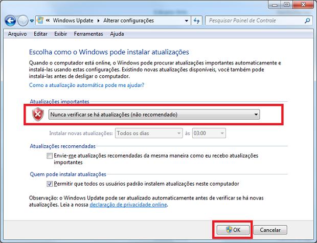 Saiba como desativar e ativar o Windows Update no Windows 7