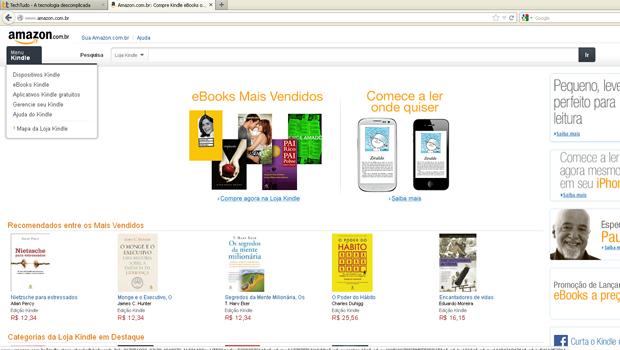 d405358de Página inicial da Amazon no Brasil (Foto  Reprodução)