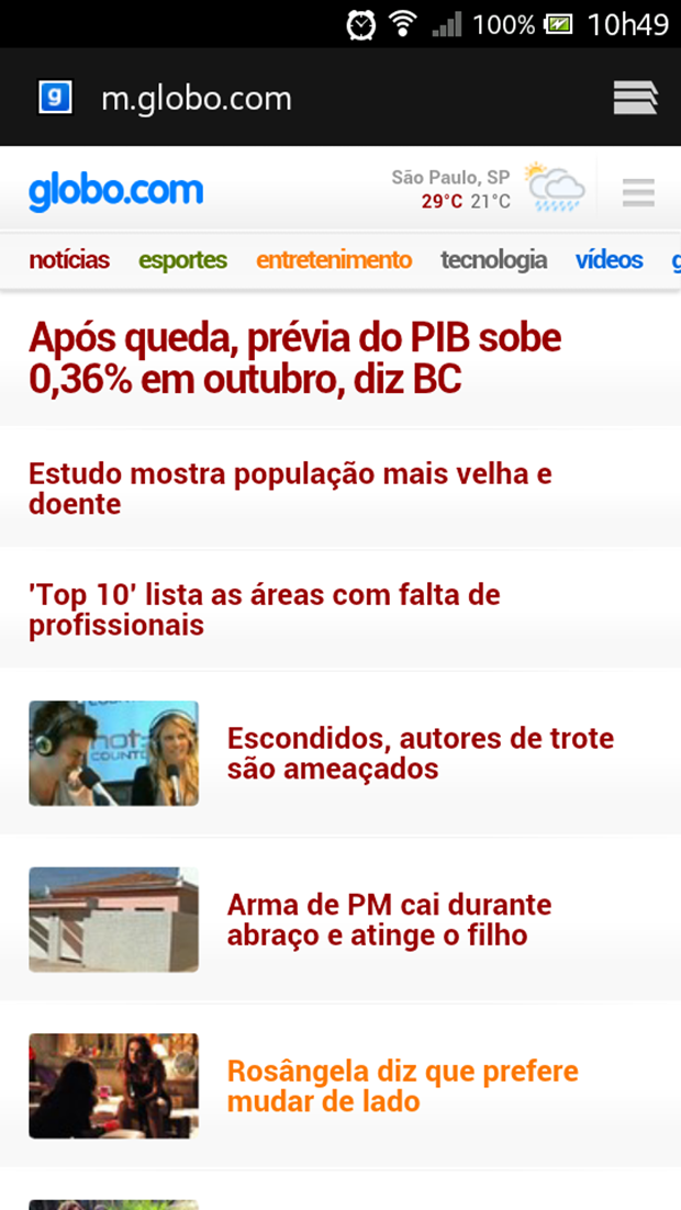 Acesse a página mobile da Globo.com através do endereço m.globo.com (Foto: Reprodução/Aline Ferreira)