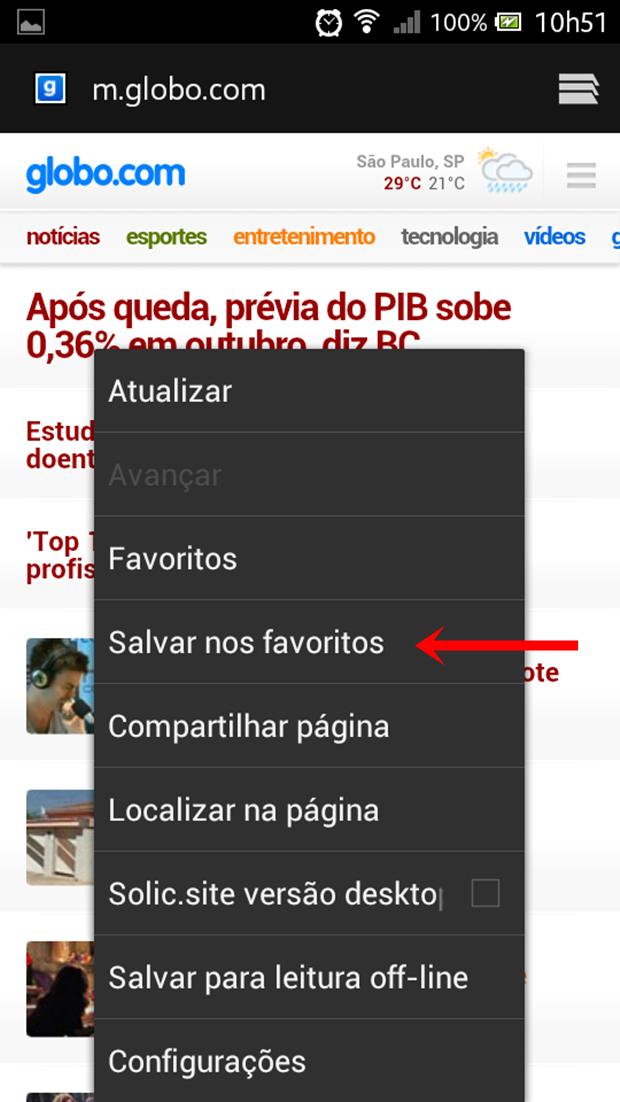 """Clique em """"Salvar nos favoritos"""" (Foto: Reprodução/Aline Ferreira)"""