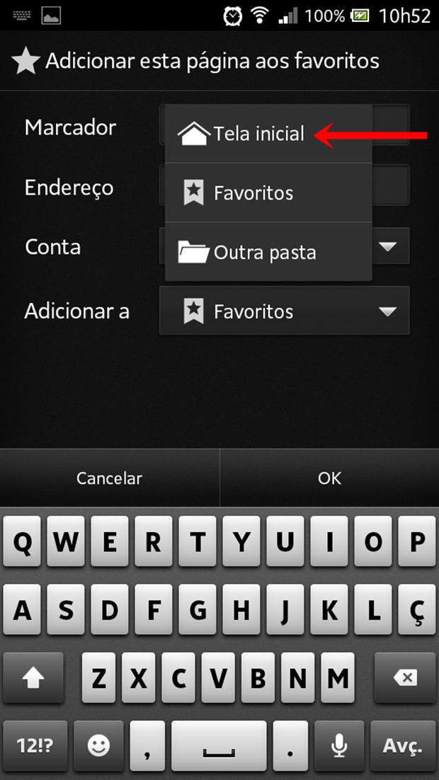 """Escolha a opção """"Tela inicial"""" (Foto: Reprodução/Aline Ferreira)"""