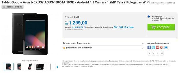 Nexus 7 chega ao Brasil, mas custando caro (Foto: Reprodução Magazine Luiza)