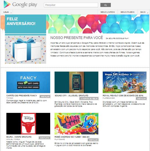 Para comemorar um ano de vida, Google Play lança ofertas e apps gratuitos (Foto: Divulgação/Google Play)