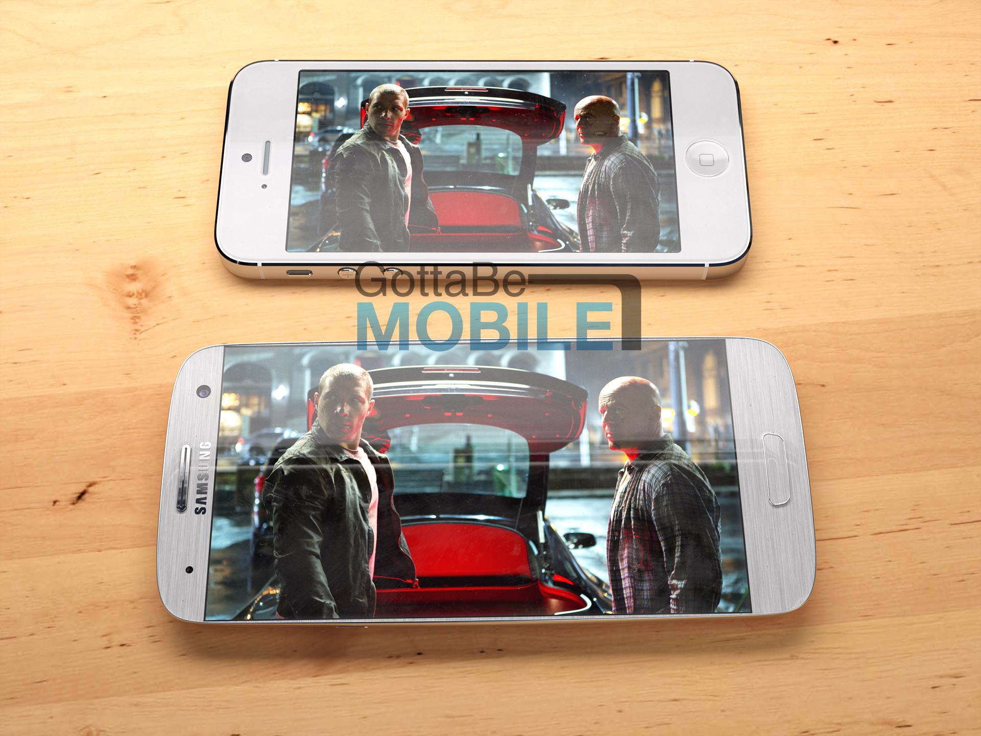 O coneceito do Galaxy S4 comparado ao iPhone 5 (Foto: Reprodução/Gottabemobile)