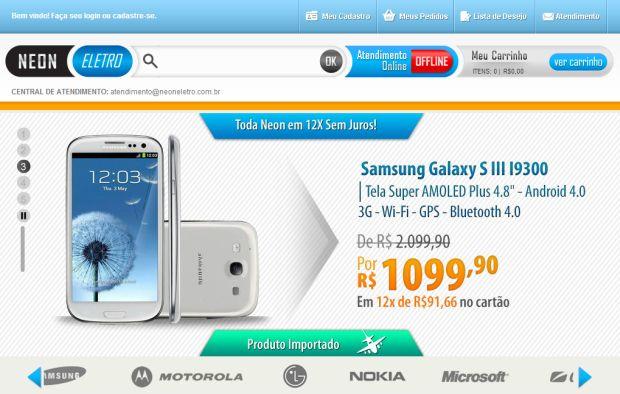 Neon Eletro anuncia produtos com preços atraentes, mas acumula reclamações (Foto: Reprodução/Facebook)