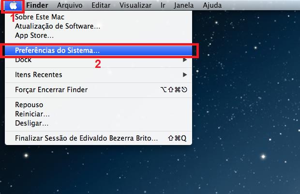 """d570706eb6 Acessando as """"Preferências do Sistema"""" na barra de menu do Mac (Foto:"""