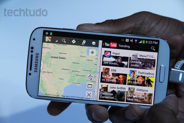 Galaxy S4 pode rodar dois aplicativos em uma mesma janela (Foto: Allan Melo/TechTudo)