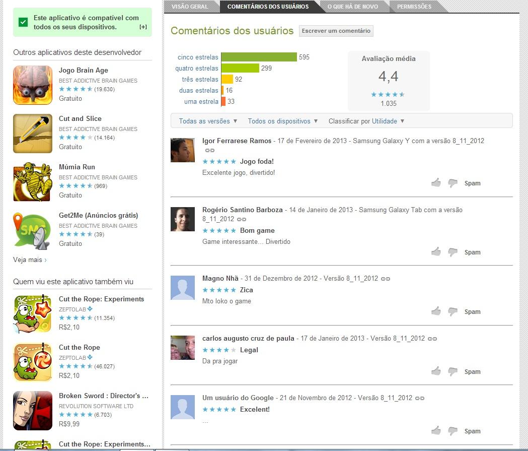 Cheque os comentários dos usuários (Foto: Divulgação/ Google Play)