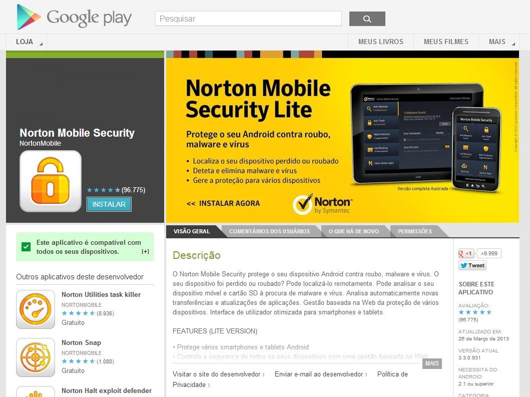 Instale algum anti-malware confiável, como Norton, Avast, Dr. Web, F-Secure, Ikarus, Kaspersky, etc. (Foto: Divulgação/ Google Play)
