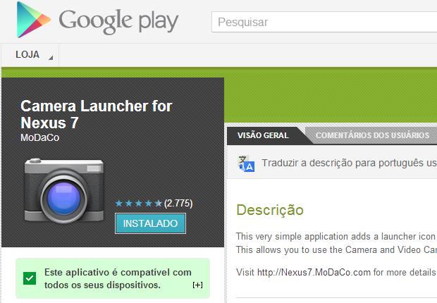 Aplicativo cria ícone para usar câmera frontal do Nexus 7, da Google (Foto: Reprodução / Google Play)