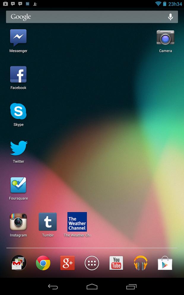Tela inicial do Nexus 7 com ícone do aplicativo de câmera (Foto: Captura de tela / Melissa Cruz)