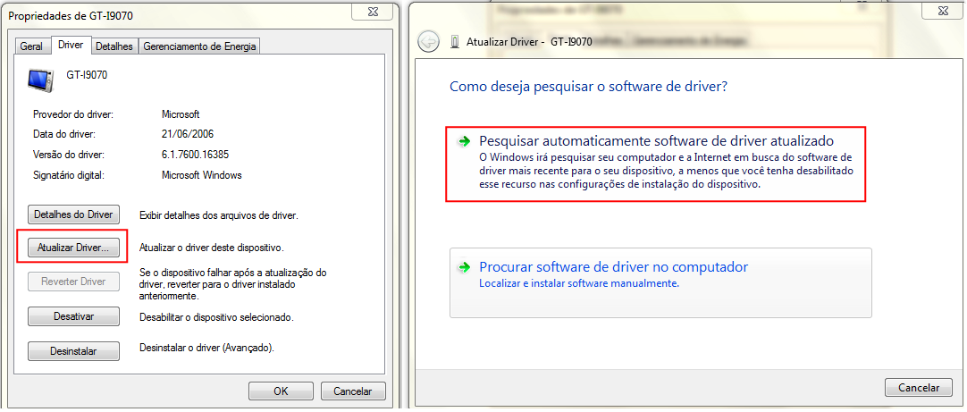 Windows tentará atualizar o driver do seu celular, caso este esteja corrompido (Thiago Bittencourt/TechTudo)