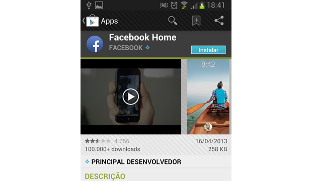 Facebook Home disponível no Google Play brasileiro (Foto: TechTudo)