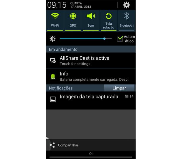 Galaxy S3 exibe a TV conectada na função AllShare (Foto: Daniel Ribeiro/TechTudo)