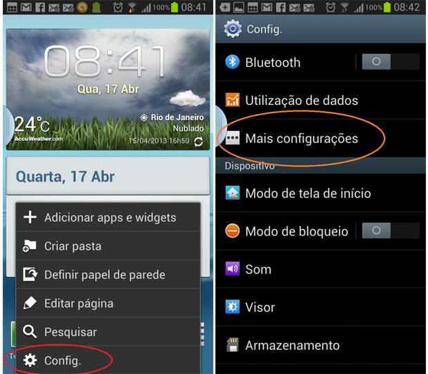 Galaxy S3 exibe a função AllShare no menu de configurações (Foto: Daniel Ribeiro/TechTudo)