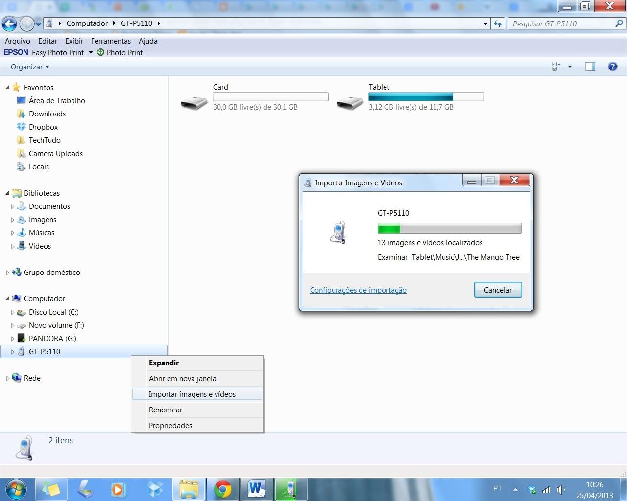Clique com o botão direito do mouse sobre o dispositivo e selecione