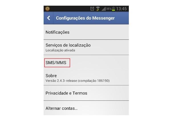 Opção SMS/MMS do Messenger  (Foto: Reprodução/Lívia Dâmaso)