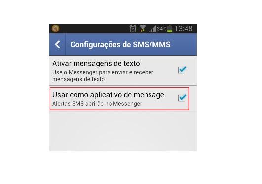 Opção para receber notificações de SMS no aplicativo (Foto: Reprodução/Lívia Dâmaso) (Foto: Reprodução/Lívia Dâmaso)