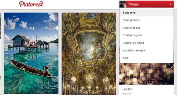 Pentru a vă accesa profilul Pinterest, faceți clic pe numele dvs. (Foto: Redare / Thiago Barros)