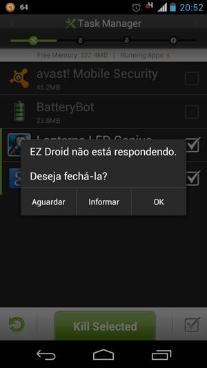 Aplicativo EZ Droid trava e pede para ser fechado no Motorola Razr i (Foto: Reprodução/Bruno Quevedo)