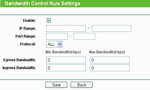 Tela TP-Link - Controle de banda