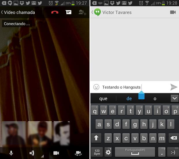 Estas são as telas de bate-papo do Hangout (Foto: Reprodução/Thiago Barros)