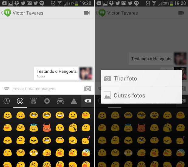 Na janela de conversa, é possível enviar emoticons e fotos (Foto: Reprodução/Thiago Barros)