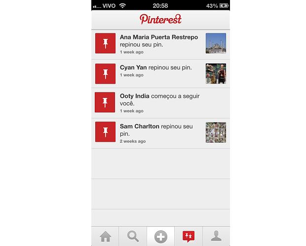 Menu de notificações é uma novidade no Pinterest (Foto: Reprodução/Thiago Barros)