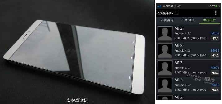 O Xiaomi MI-3 e sua pontuação nos testes de desempenho (Foto:Reprodução/GSMArena)